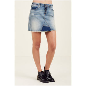 True Religion Women's Mid Rise Cut Off Denim Skirt